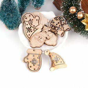 1pack DIY Natural Mini Деревянные Висячие Чип рождественской елки украшения кулон Снеговик дерево Форма Xmas украшения украшения Санта Decora n3fi #