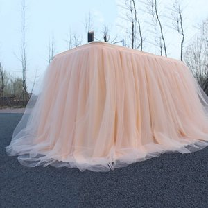 1m Wedding Supplies Tulle Table Skirt for Wedding Decoration Baby Shower Home Textile Party Birthday Table Decoration Tutu Skirt Tablecloths