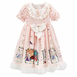 PPXX Kız Prenses Giydirme Masal Lolita Dantel Bow Parti Elbise Örgün Genç Kız Plus Size kızlar giysi Yüksek Kalite L7kg #