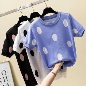 shintimes Pois maglietta donne maglietta lavorato a maglia cotone 2020 Estate maglietta casuale Corea vestiti Tee Shirt Femme Camisetas Mujer CX200622