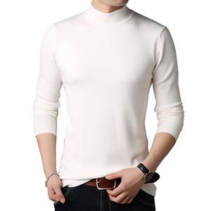 BROWON Мужчины Марка свитер Красочный свитер Slim Fit Свитера Мужчины Повседневная Solid Color Turtelneck Youth Трикотаж