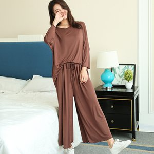 PLUS size home suits women autumn new loose long-sleeved pajamas two-piece set nine-point wide leg pants pijama sleepwear femme Y200708