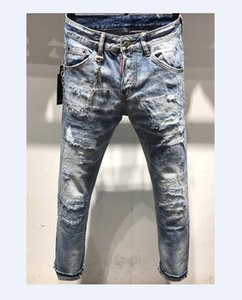 New Men Brand Clothing Casual Mens Jeans Skinny Slim Biker Jeans Denim Long Pants ripped jeans homme 5807