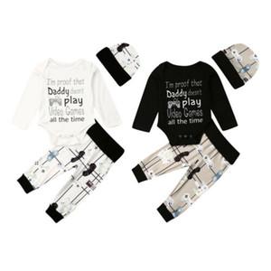 2020 Infant Baby Clothing Set Toddler Baby Boy Cotton Spring Autumn Letter Print Long Sleeve Bodysuit Long Pants Hat