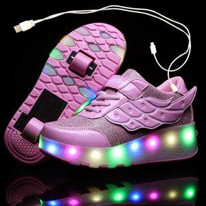 Rodillo de carga USB patín de los niños de los zapatos ocasionales muchacha de los muchachos automática Jazzy encendido LED parpadeante niños que brillan intensamente las zapatillas de deporte con ruedas