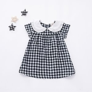Summer new female baby cotton plaid dress girl short sleeve plaid dress INS