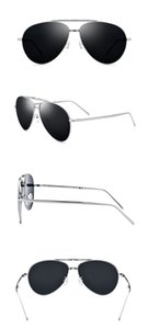 Titanium alloy Men Polarized Sunglasses Folding Glasses Silver Frame Black Lens