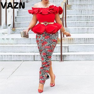 VAZN Slash Neck Evening Party Time Lady Mermaid Long Vestido Short Sleeve Young Slim Shinny Dress Sexy Club Going Out Wear Dress T200710