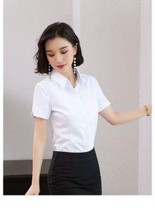 2020 new summer short-sleeved white shirt ladies Korean temperament professional work clothes Slim short-sleeved shirt dress