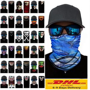 Cosplay de bicicletas Ski cráneo mitad de la cara unisex de Halloween máscara del fantasma de la bufanda del partido más caliente del cuello del pañuelo diadema mágica turbante