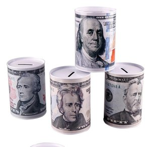 Creative Euro Dollar Metal Cylinder Piggy Bank Saving Money Box Home Decoration Tin Piggy Bank Child Piggy Bank Free Shipping