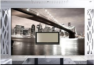 Custom Photo Wallpapers murals for walls 3d mural 3D TV background wall of the bustling night scene of American City Bridge wall papers