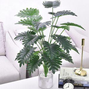 75cm 24Heads Tropical Monstera Plantes Grand arbre artificiel Palmier feuilles vertes en plastique Fausse tortue feuille pour la maison Party Decor