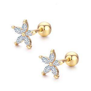 7Colors Cute Five Petals CZ Stones Flower Screw Back Stud Earrings For Women Baby Kids Girls Gold Color Piercing Jewelry Aros