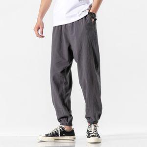 Estilo chino Primavera Harem Joggers Men 2020 Pantalones casuales de verano Hombres Strenaje sólido Pantalones de longitud del tobillo Tamaño asiático