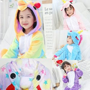 e0Arl Flannel children's pajamas Blue Sky Horse unicorn cartoon conjoined pajamas animal boys and girls babies big and small children's home