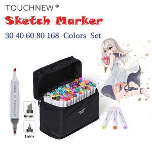 TOUCHNEW 알코올 마커 30/40/60/80/168 색상 듀얼 헤드 스케치 마커 브러쉬 펜 세트에 대한 그리기 만화 디자인 아트 마커 Y200709