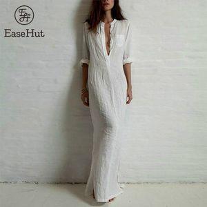 EaseHut Plus Size Long Maxi Dress For Women Sexy Long Sleeve Stand Collar Linen Split Solid Shirt Dress Beachwear Vestido