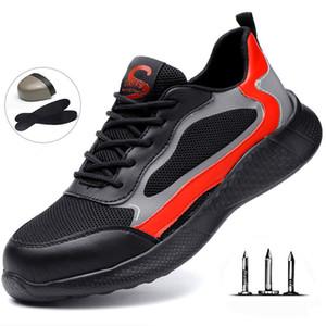 Travail d'assurance chaussures d'été en acier pour homme Toe Cap Light Work sécurité Chaussures de plein air doux et respirant Bas de protection