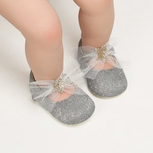 Toddler Baby Girl Shoes First Walkers Lovely Princess Mesh Bow Shiny Solid Color Baby Shoes Spring and Summer Infant 0-18M