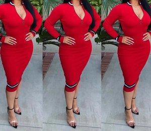Женские платье Женщины осенью молния MIDI платье 2020 тонкие юбки женские сплошные цветные платья горячие продажи повседневные узкие юбки