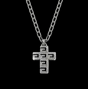 Square carved cross thick Necklace Gold version of men and women cross twist Chain Necklace