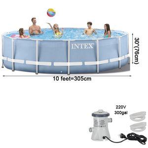 305 * 76cm round frame above ground pool set 2020 model pond family pool filter pump metal frame swimming pool