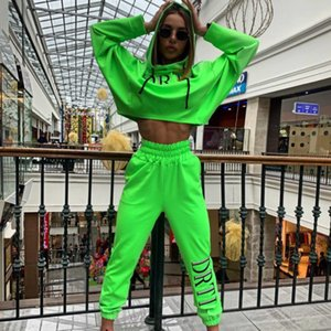 DEAT 2020 Women Two Piece Set Fashion Hooded Sweetshirt Casual Sports Trousers Outdoor Pants Tracksuit MG633