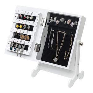 12 Inch Espelho Jóias Gabinete Organizador pequeno tabletop de madeira armário de armazenamento Caixa de Maquiagem Espelho Jóias armazenamento integrado armário com espelho