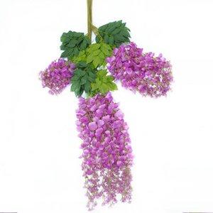 Viña del banquete de boda floral artificial Wisteria falso jardín colgante flor de Plantas de eventos Decoración DHF515