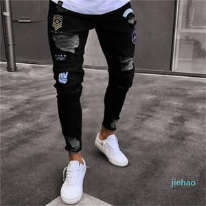 Fashion- Männer stilvoller zerrissenen Jeans-Hosen Biker-dünne dünne gerade Ausgefranste Denim-Hose neue Art und Weise dünne Jeans Herren-Bekleidung