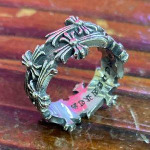 aço inoxidável estilo de prata de alta qualidade Homens Retro Chrome Hearts Anel Moda Cruz Punk Jóias presente Ring