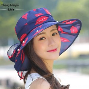 Travel sunshade cloth bowknot braised elegant lady holiday sunscreen leisure Butterfly hat beach hat fashionable Korean version