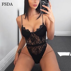 FSDA Women Sexy White Lace Bodysuit Summer Off Shoulder Black Backless Jumpsuits Women Spaghetti Strap Lady Party Bodysuits