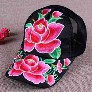 Ethnic characteristics thin mesh breathable Embroidered baseball cap summer embroidered casual sun hat sun hat women's baseball cap