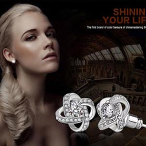Fashion Lady Women 925 Silver Plated Ear Stud Zircon Crystal Rhinestone Earring Clovers zircon earrings For Women Ear Jewelry