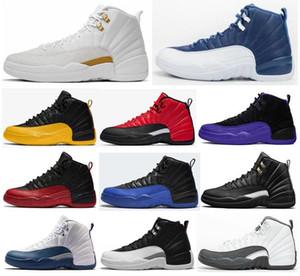 12 nouvelles Université Pierre Bleu d'or inverse grippe jeu foncé Concord OVO Blanc Hommes Chaussures de basket-12s Playoff French Blue sneakers avec la boîte