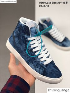 2020 Mens Blazer Mid QS HH Vintage High Canvas Running Shoes For Womens Blue Black Fashion Sport Classic Sneakers blazers Shoes Size 36-45