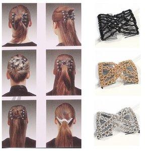 Double Magic clips de diapositivas sobre peine para las Mujeres Accesorios simulado perla elástico peines del pelo de Headwear de la vendimia Regalo F13221