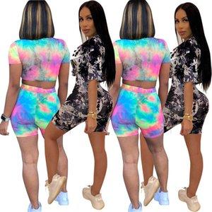 Womens sportswear short sleeve shorts outfits 2 piece set jogging sport suit sweatshirt tights sport suit fashion print sportsuit klw4418
