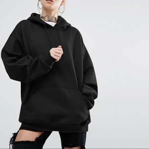2020 Winter-beiläufige Fleece Damen Hoodies Sweatshirts Langarm Black Girl Pullover lose Kapuzenjacke weiblich dicken Mantel