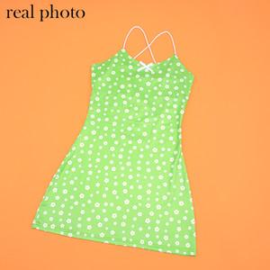 ALLNeon E-fille douce floral vert robes vintage Kawaii Y2K été Spaghetti Strap Party Mini robe mignon Streetwear chic Outfit