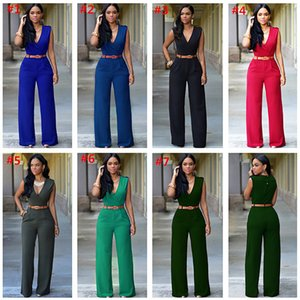 Fashion Women Jumpsuit High Waist Wide Leg Pants Solid Color Sleeveless Rompers With Belt Summer Design One-piece Bodysuit Party Outfits
