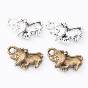 200pcs 12*7MM Antique Vintage silver color animal ELEPHANT charms metal alloy pendants for bracelet necklace diy jewelry making