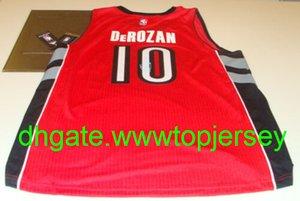 Ucuz Demar Derozan Jersey Basketbol İmza COA Kırmızı Yeni NkVest Dikişli basketbol formaları İmzalı