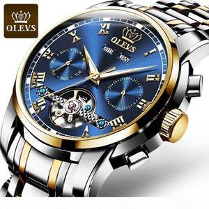 reloj de acero inoxidable de lujo mecánico de los hombres de moda OLEVS volante grande fantasma agua verde del dial de los hombres a prueba de agua