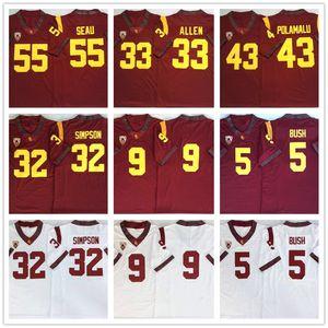 NCAA USC Trojans # 33 Marcus Allen # 32 OJ SIMPSON # 43 TROY Polamalu # 5 Реджи Буш # 55 Junior Foothys футбол сшитые логотипы колледжа