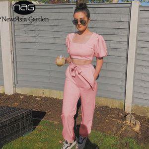 NewAsia Летний женский Loungewear Набор Vintage площади Воротник Короткие рукава Puff Crop Top Long Pant Two Piece Set Pink КОСТЮМ