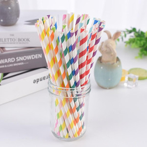 Wholesale Paper Straw Environmental Colorful Straight Drinking Straw Wedding Kids Birthday Party Decoration Supplies Dispette FY4148