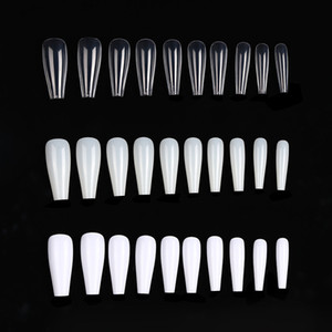 100pc bag Long Ballerina Coffin Fake Nails Tips Clear Nature Color Abs Full Cover False Nails Manicure Acrylic Nail Art Tools